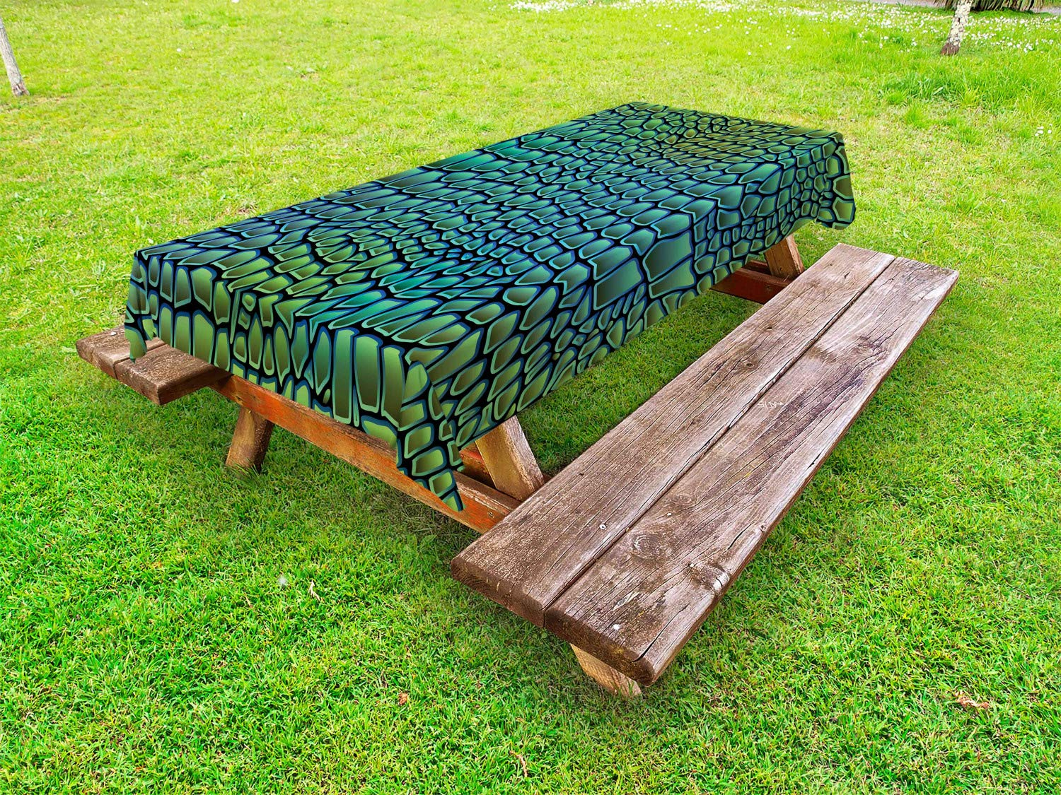 Ambesonne Abstract Outdoor Tablecloth, Alligator Skin African Animal Crocodile Reptile Safari Wildlife Vibrant Artwork, Decorative Washable Picnic Table Cloth, 58 X 120 Inches, Green Blue