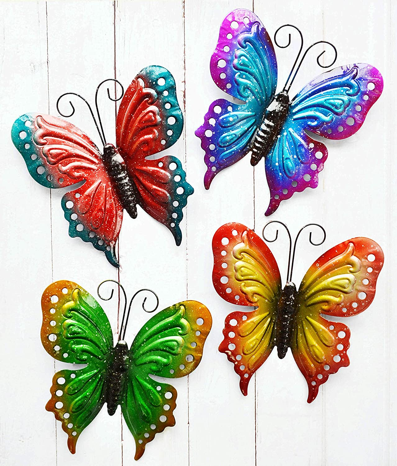 ShabbyDecor Metal Butterfly Wall Art Hanging Décor for Patio Garden  Backyard Outdoor and Indoor Set of 10