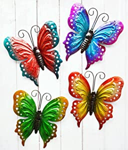 ShabbyDecor Metal Butterfly Wall Art Hanging Décor for Patio Garden Backyard Outdoor and Indoor Set of 4