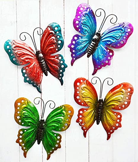 Amazon Com Shabbydecor Metal Butterfly Wall Art Hanging Décor For Patio Garden Backyard Outdoor And Indoor Set Of 4 Home Kitchen