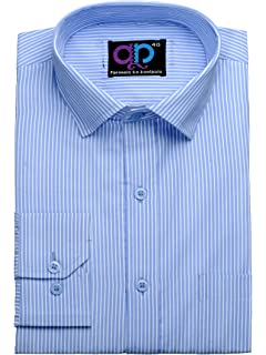 43225772da0 Formals by Koolpals-Cotton Blend Shirt White Vertical Stripes on Office Blue