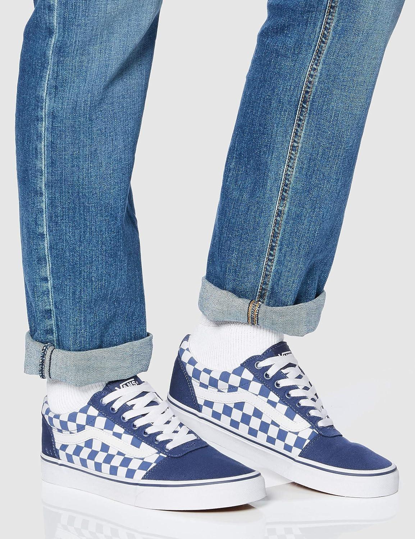 Vans Ward Canvas, Baskets Homme Bleu Checkerboard Sailor Blue White Vh1