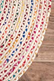 nuLOOM Hand Braided Bohemian Colorful Cotton Round