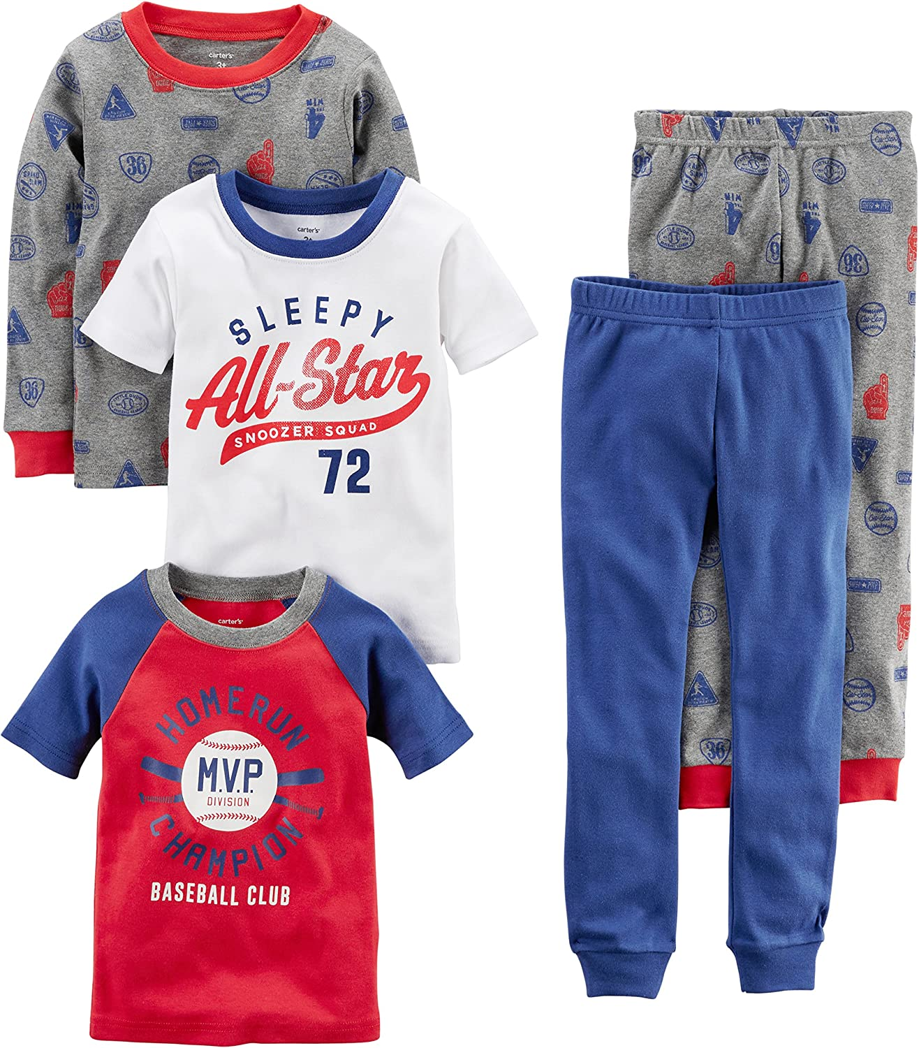 Carter's Baby Boys' 5-Piece Cotton Snug-fit Pajamas