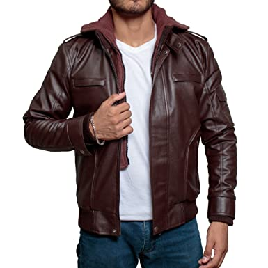 9f901524a Mens High-Street Slim Fit Biker Brown Faux Leather Jacket with ...