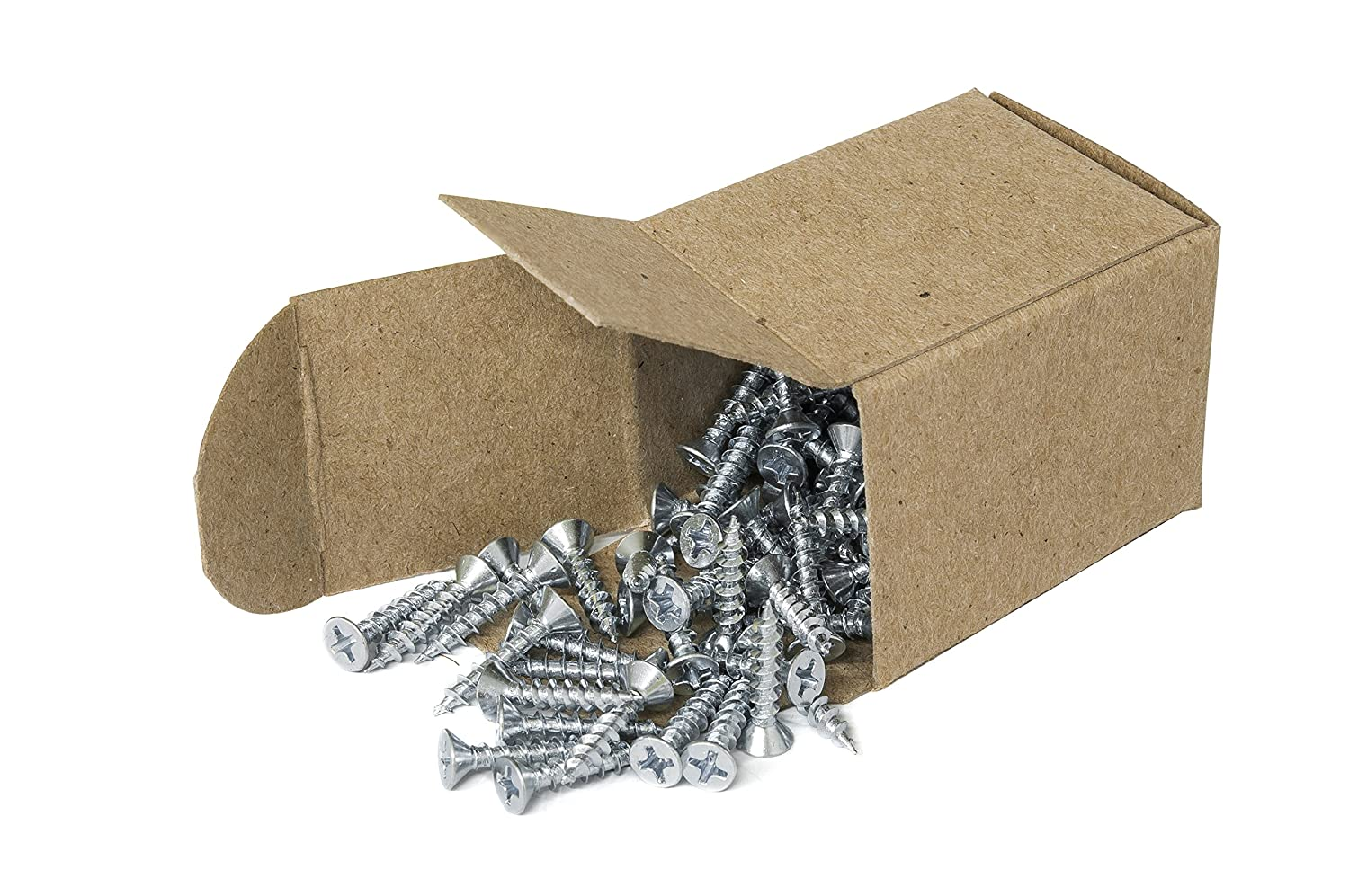 #6 x 1//2 Phillips Flat Head Countersink Screw or Fiberglass Box of 100 Plastic Zinc-Plated Steel for Attaches Sheet Metal to Wood