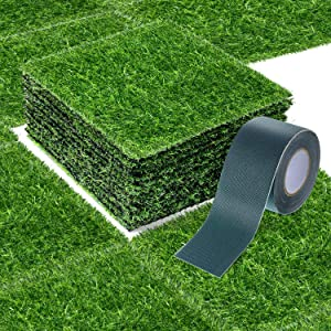 12 x 12 Inch Fake Grass Artificial Grass Mat Fairy Grass Synthetic Garden Artificial Turf Rug for Dogs with Tape for Indoor and Outdoor Use (12 Pieces)