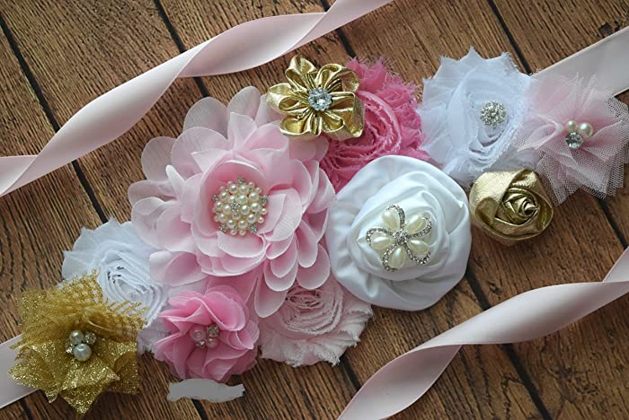 Amazon Com Flower Sash Pink Gold White Sash Flower Belt