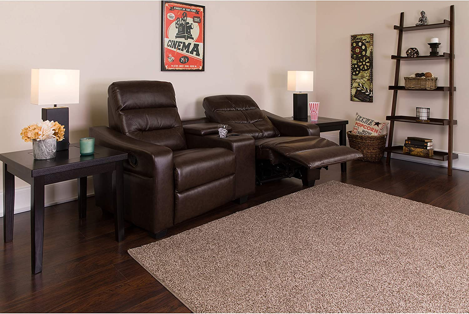 Flash Furniture Futura Series 2-Seat Reclining Brown LeatherSoft Theater Seating Unit with Cup Holders