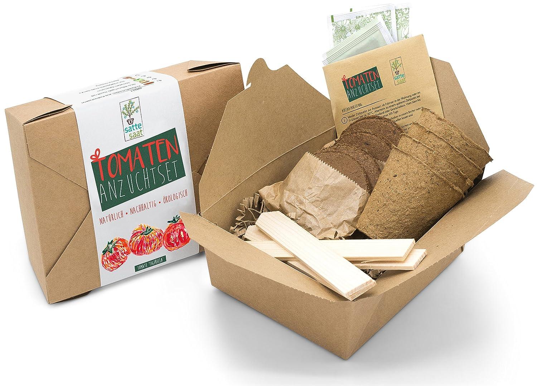 Satte Saat Verrü cktes Tomaten Anbauset - Anzuchtset zum Anbauen seltener Tomaten wie Tigerella und Ochsenherz, inkl. Tö pfe, Kokos-Erde, Holz-Sticks, Saatgut und Anleitung - eine tolle Geschenkidee