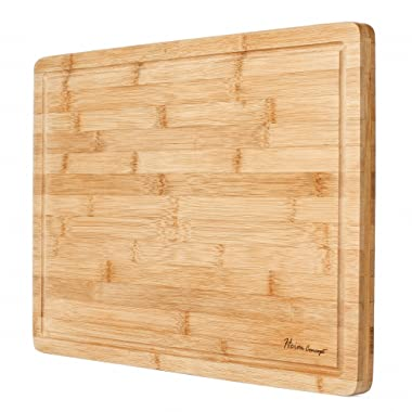 Premium Organic Bamboo [ HEIM CONCEPT ] Extra Large Cutting Board and Serving Tray with Drip Groove [ 18  x 12  x ¾  inch Thick ] Eco-Friendly Thick Strong Bamboo Kitchenware