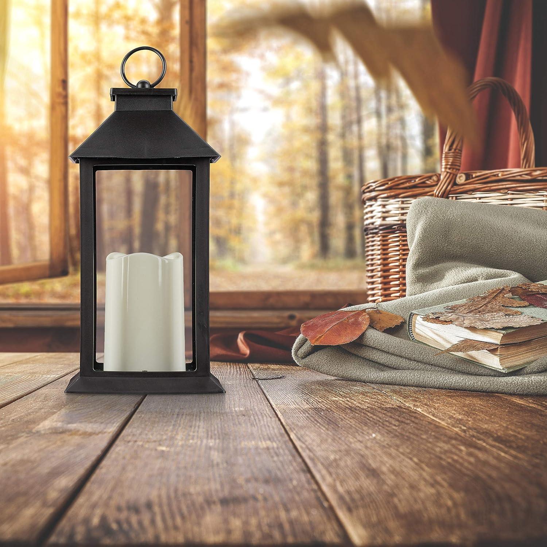 Relaxdays, Negro Farol LED de jardín, Vela con Efecto de Llama, Iluminación de Exterior, Colgante o de pie, 30 cm: Amazon.es: Jardín