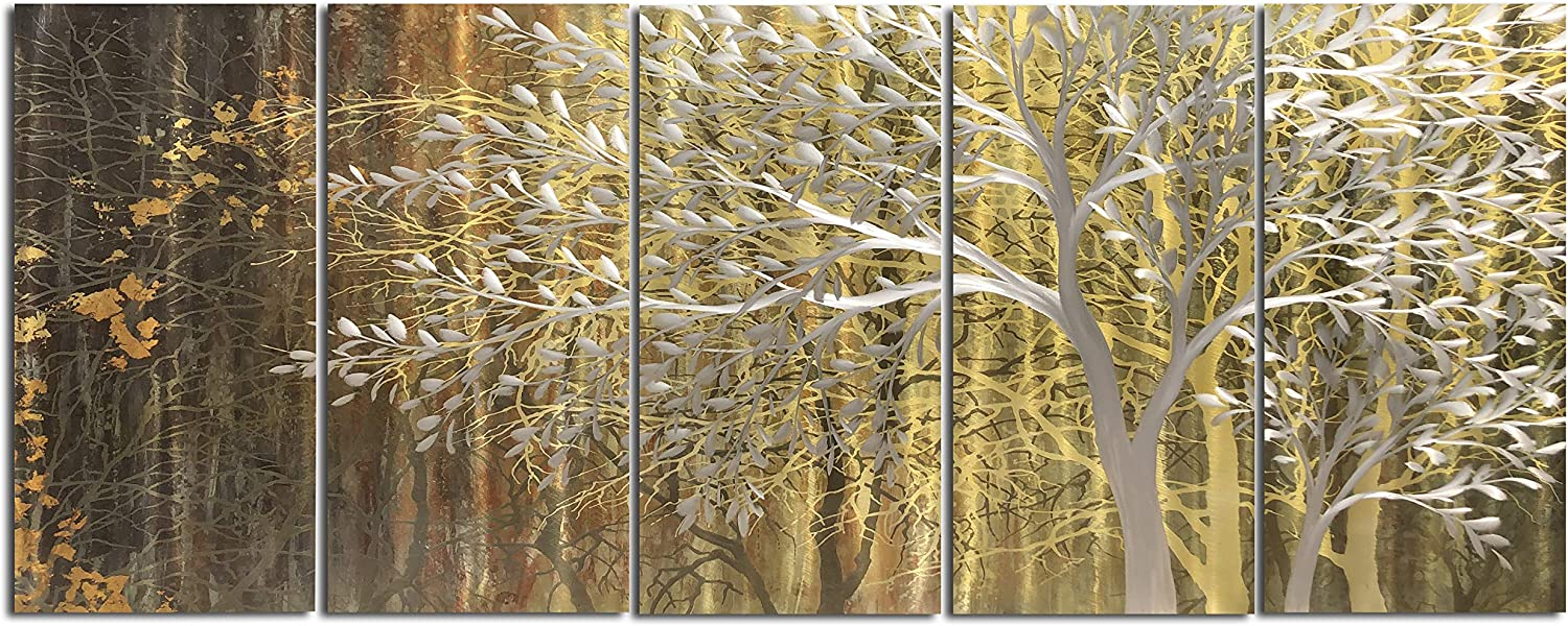 Gold Metal Wall Art Tree Wall Decor Abstract Sculpture Hanging with 3d Nature Landscape Inspirational Artwork