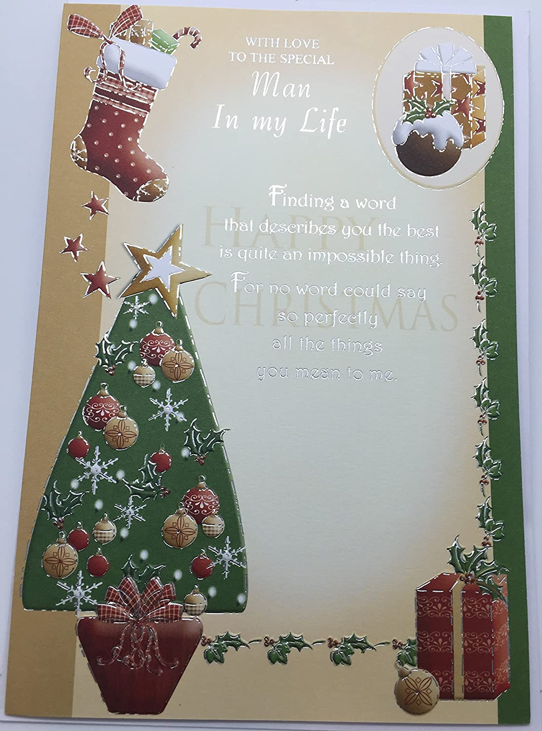 With Love To The Special Man In My Life Happy Christmas Card Amazon
