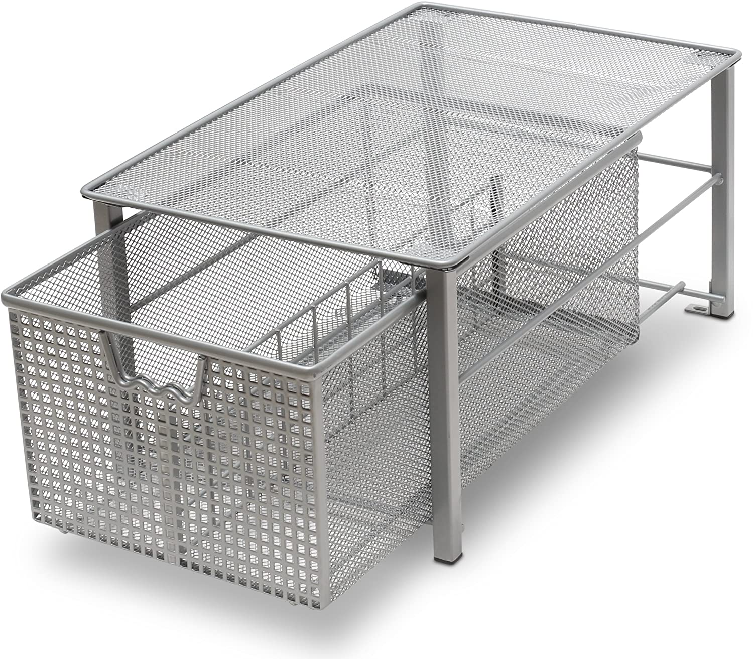 DecoBros Mesh Cabinet Basket Organizer, Silver (Large - 10.6 X 16 X 7.8) Deco Brothers BK-014-1