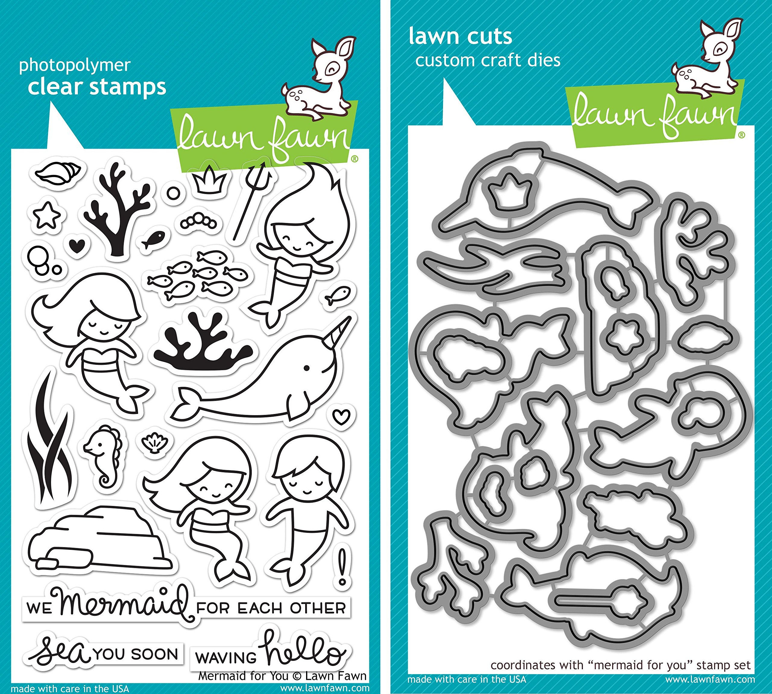 Lawn Fawn Mermaid for You Stamp and Die Set - Two item Bundle