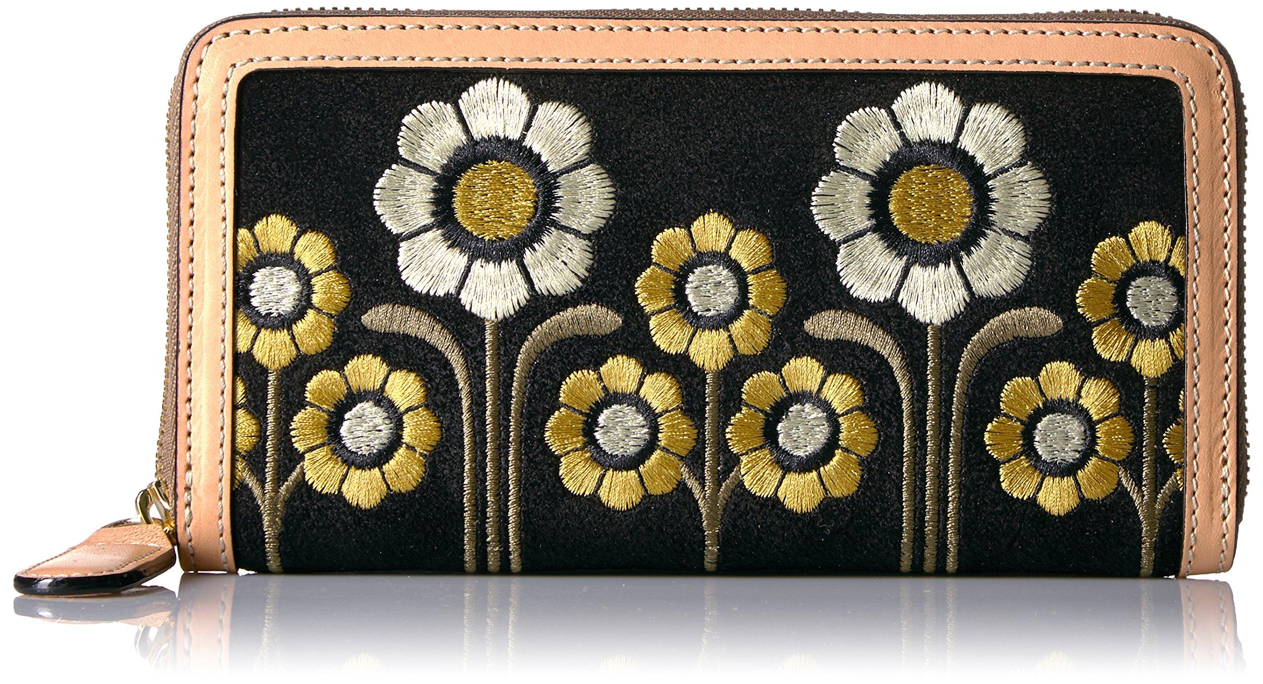 Suede Embroidery Big Zip Wallet Wallet, Black, One Size