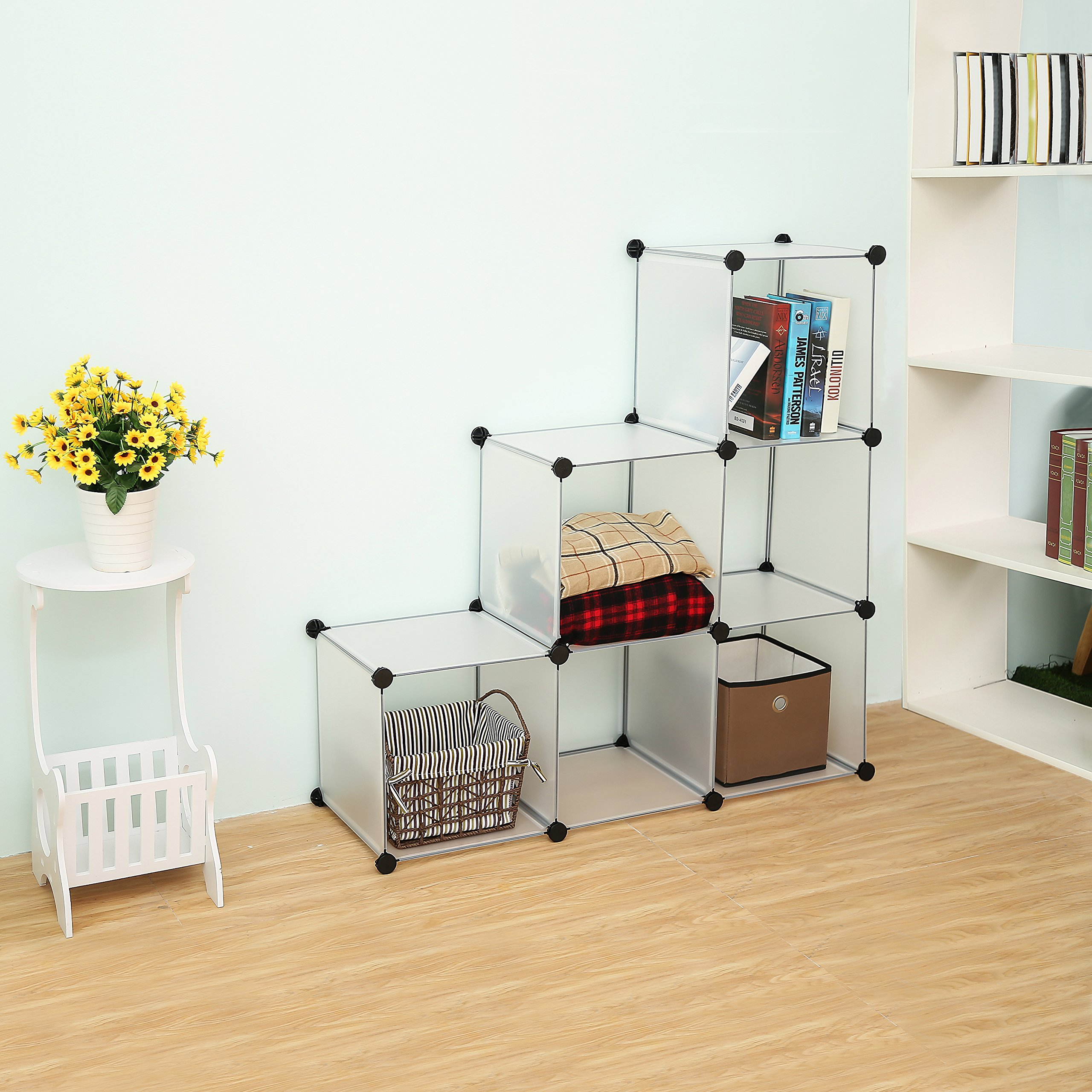 C&AHOME - DIY Bookcase Media Storage Standing Shelf Storage Cabinet Cube of 6, Semitransparent by C&AHOME (Image #4)