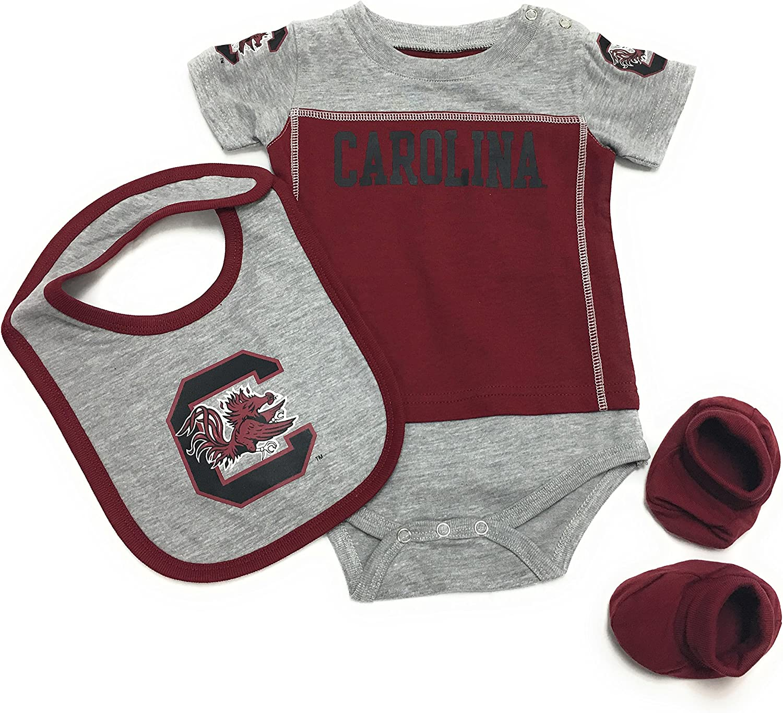 Footie 3pc FAST ASLEEP South Carolina Gamecocks Baby Boy Bib and Hat Set 9-12 M
