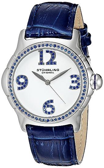 Stührling Original 592.01 - Reloj analógico para Mujer, Correa de Cuero, Color Azul: Amazon.es: Relojes