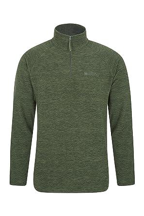 0776e05e Mountain Warehouse Snowdon Mens Micro Fleece Top - Warm, Breathable, Quick  Drying, Zip Collar Fleece Sweater, Soft & Smooth Pullover - for Travelling,  ...