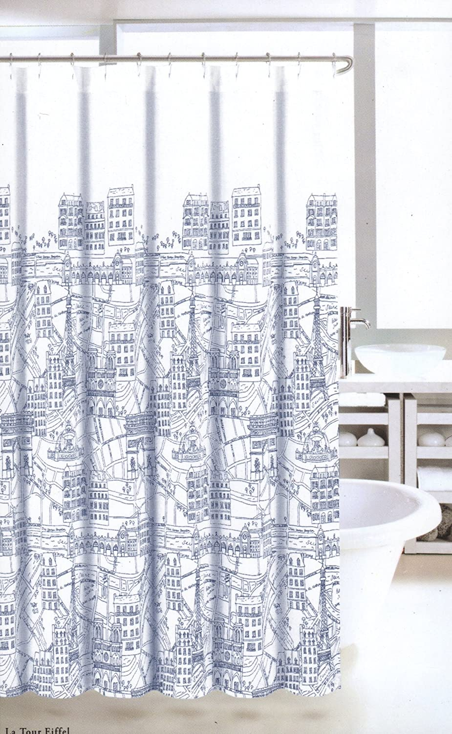 Amazoncom Nicole Miller Fabric Shower Curtain Navy Blue White - Paris map fabric