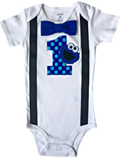 Perfect Pairz Baby Boys 1st Birthday Outfit Cookie Monster Bodysuit