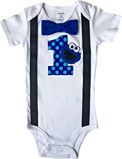 Perfect Pairz Baby Boys 1st Birthday Outfit Cookie Monster Bodysuit  sc 1 st  Amazon.com & Amazon.com: SESAME STREET COOKIE MONSTER first birthday party ...