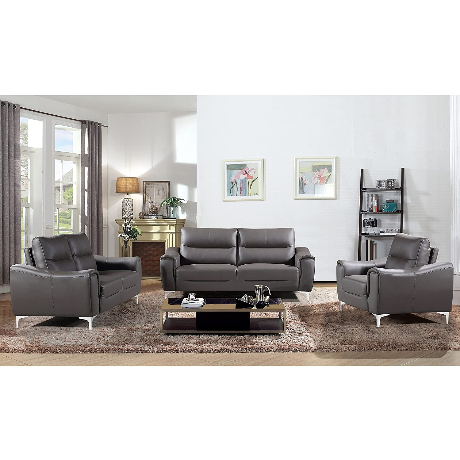 Amazon com ac pacific rachel collection ultra modern living room sofa set with sofa loveseat and armchair plush cushions and splayed leg finish gray