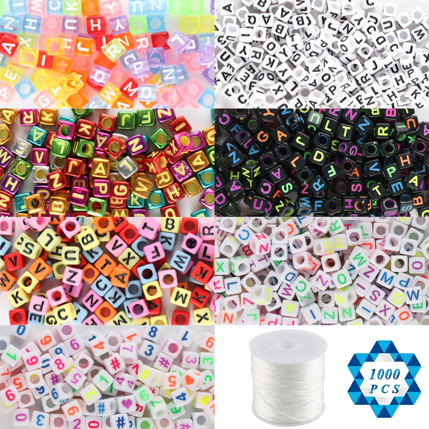 SOTOGO 1000 Count 7 Color Acrylic Alphabet Letter Beads Number Beads with 1 Roll Elastic Crystal String Cord for Jewelry Making Kids DIY Necklace Bracelet(6mm)