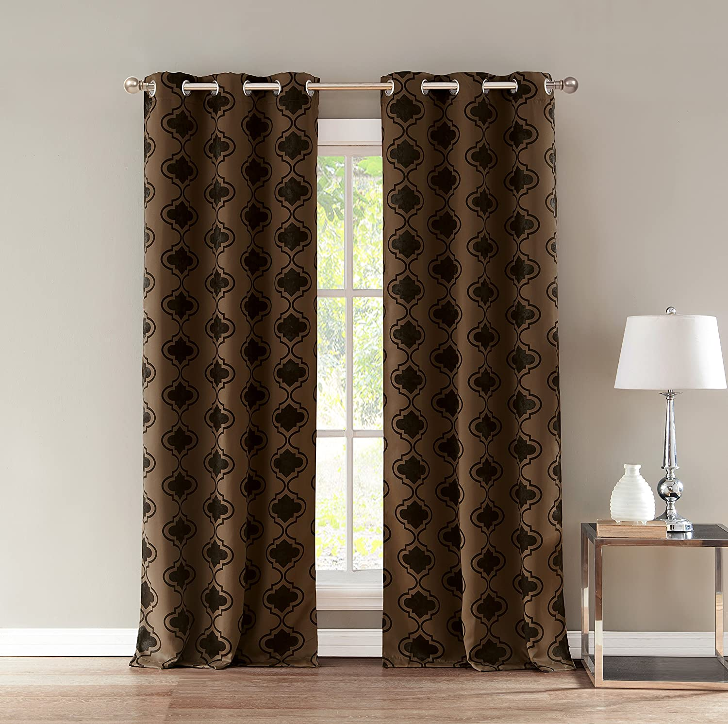 Brown Duck River Textile Home Fashion Geometric Linen Textured Blackout Darkening Grommet Top Window Curtains Pair Drapes for Bedroom 36 X 84 Living Room-Set of 2 Panels