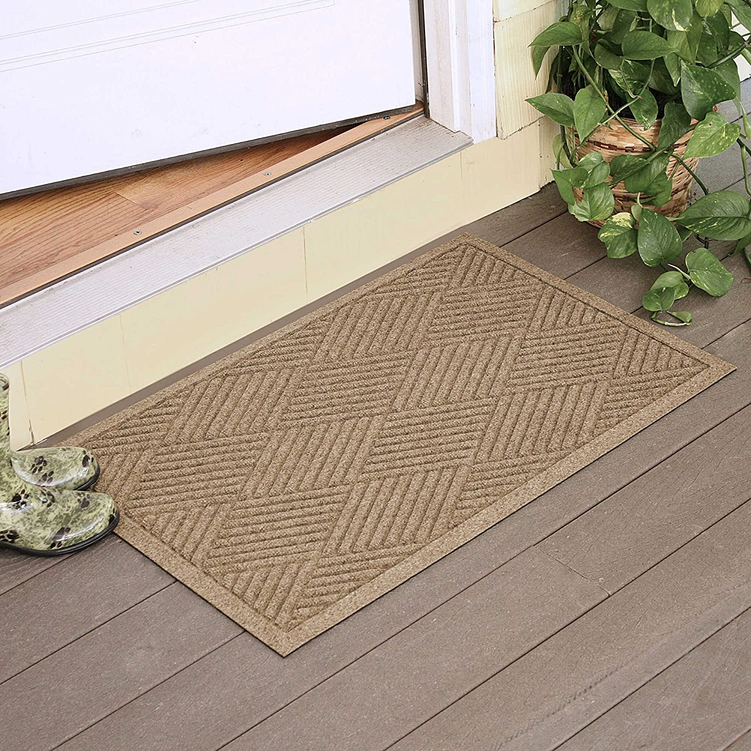 outdoor front door matsAmazoncom  Large Entryway Rug with Non Slip Rubber Backing