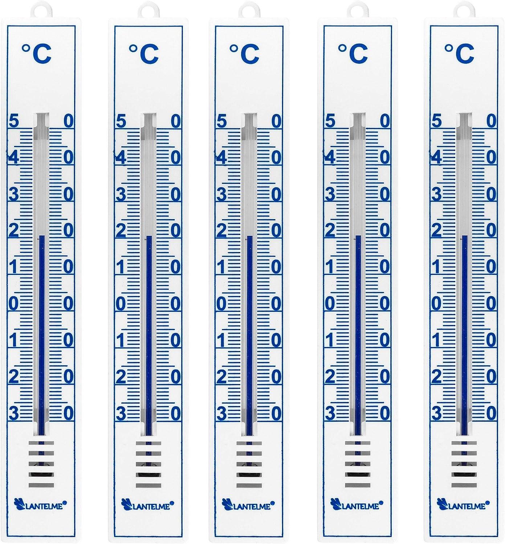 Lantelme 5 Stück Thermometer Set Deutsche Herstellung Für Innen Außen Und Garten Analog Gartenthermometer Weiß 4086 Garten