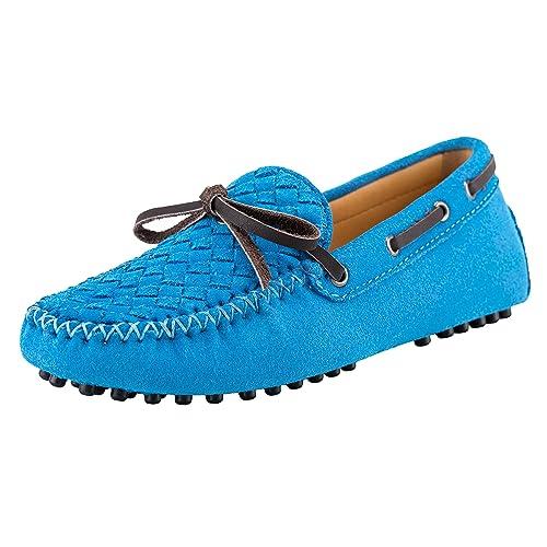 Shenduo Zapatos Casuales - Mocasines de Cuero con Cordones de Moda para Mujer D7058 Azul 35: Amazon.es: Zapatos y complementos