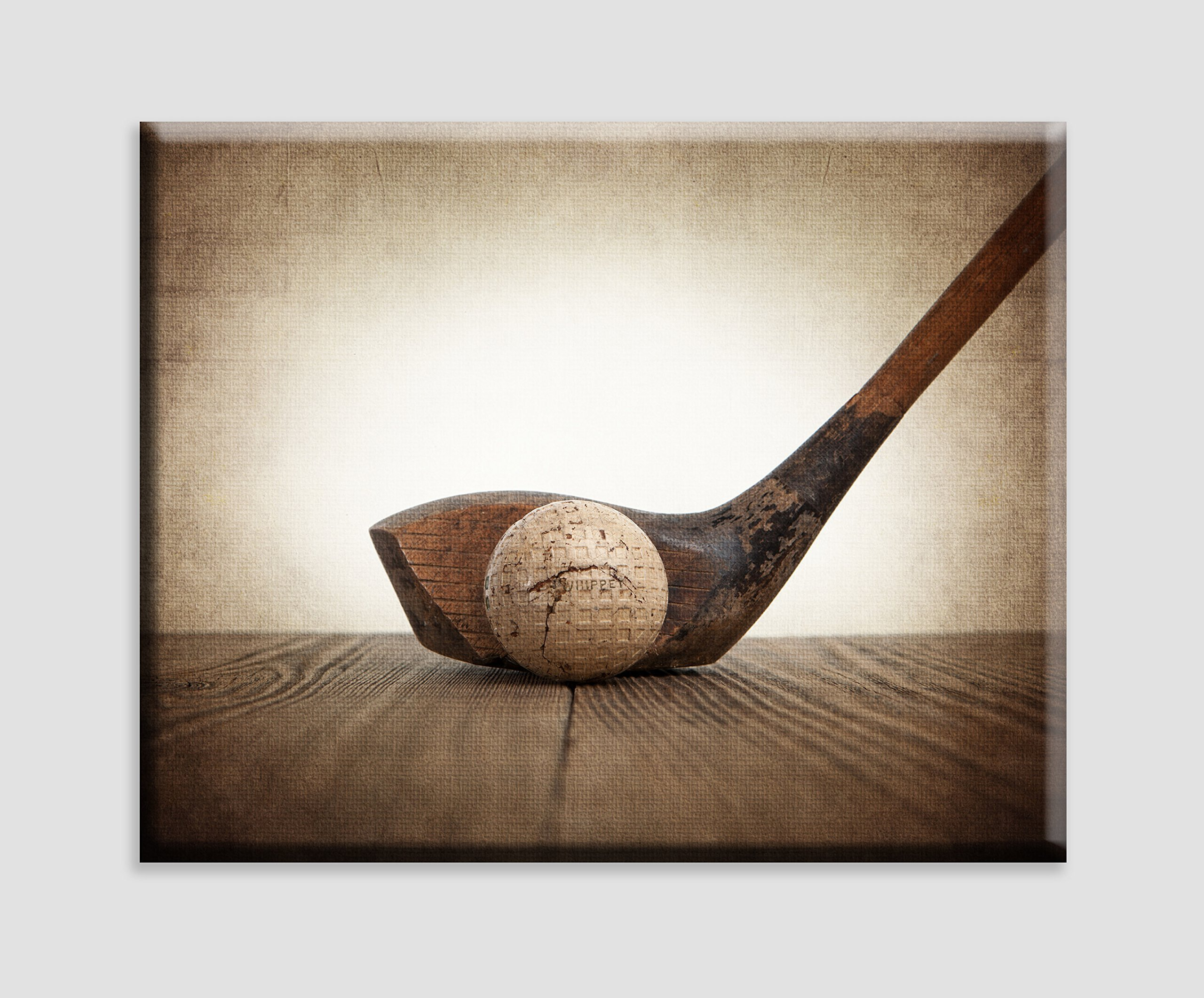 Vintage Golf Wood and Ball on Vintage Background Stretched Canvas Wall Art, Sports Decor, Golf Nursery decor, Man Cave art, Vintage Sports Nursery Art, Golf artwork, Sport Prints, Golf Photos
