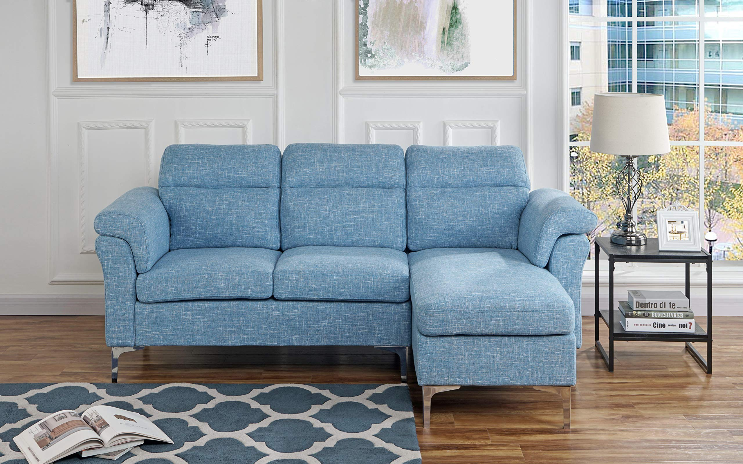Casa Andrea Milano Modern Linen Fabric Sectional Sofa - Small Space Couch (Light Blue) - This small space sectional sofa features an exquisite modern design with wrap around armrest cushions for extra comfort. Our modern sectional sofa comes wrapped in carefully selected linen fabric upholstery. This modern sectional sofa has been specifically designed to fit into small spaces while still remaining spacious Our specially designed fabric provides the ultimate look while maintaining durability. - sofas-couches, living-room-furniture, living-room - 9173v7jedJL -
