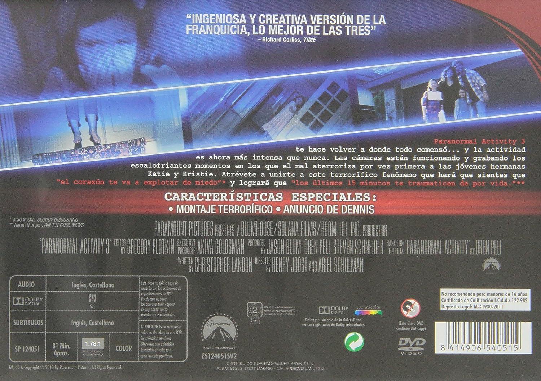 Paranormal Activity 3 - Edición Horizontal [DVD]: Amazon.es ...