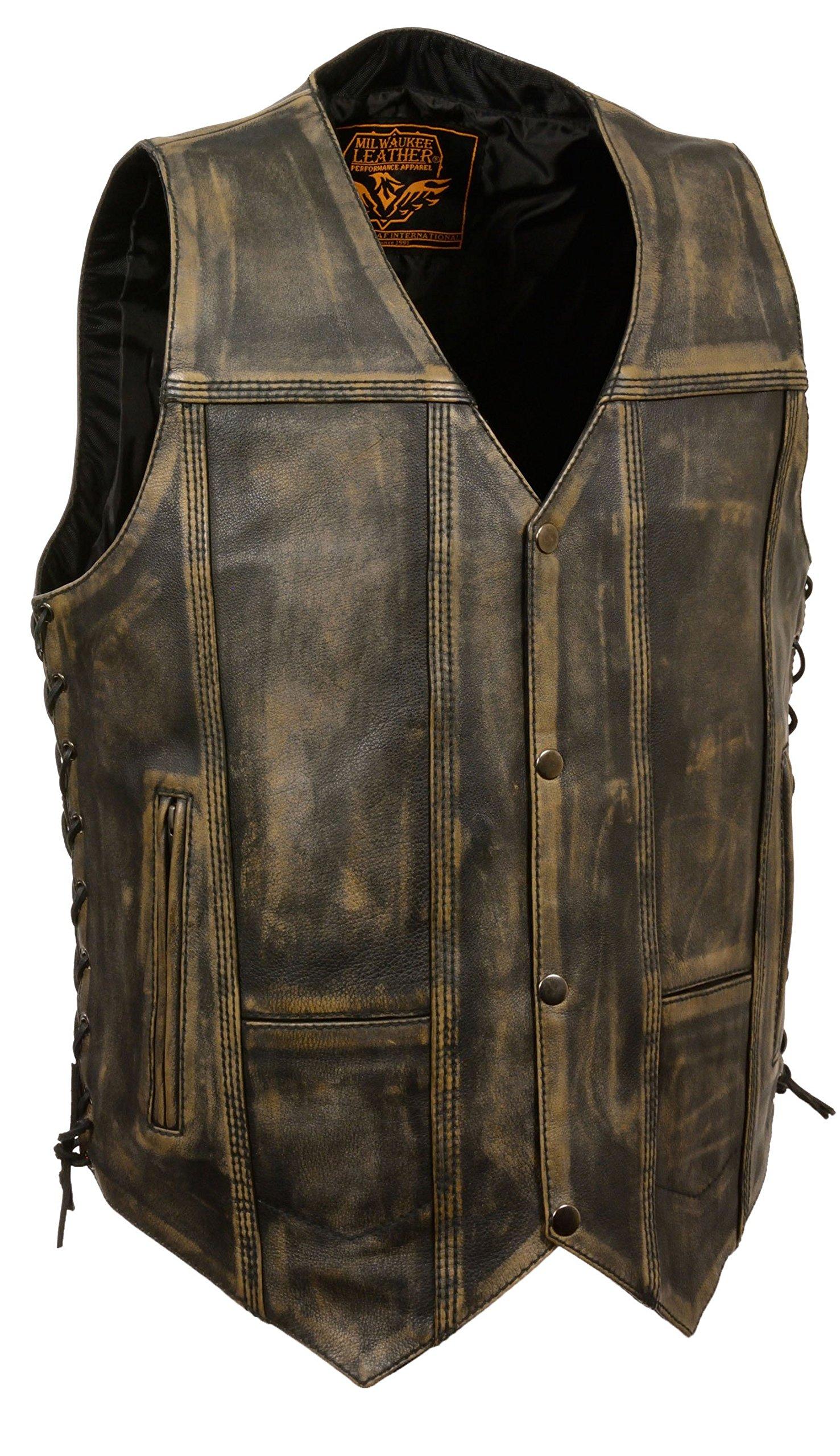 Mens Distressed Leather 10 Pocket Vest, Brown Size 3XL