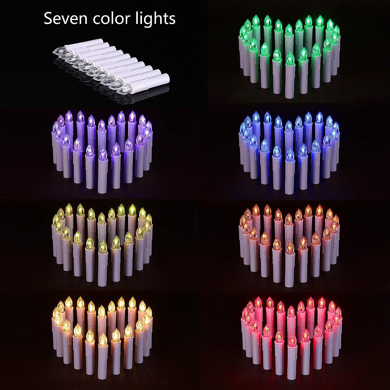 LED Velas RGB & Blanco Cálido Navidad velas múltiple uso con Juego de accesorios para pilas mando a distancia, plástico, Blanco, 30x