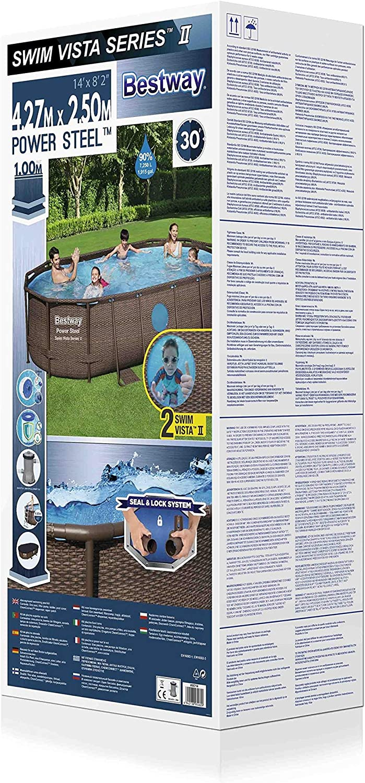 Bestway 56714 BestwayPower Steel Pool Set Ovalado, Marrón, 427 x ...