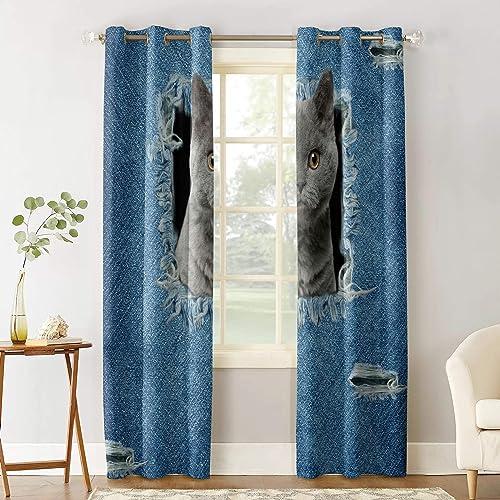 Blackout Room Darkening Curtains Window Panel Drapes Cowboy Denim Cat Cute British Black Pet Window Treatment Home Decor Curtains