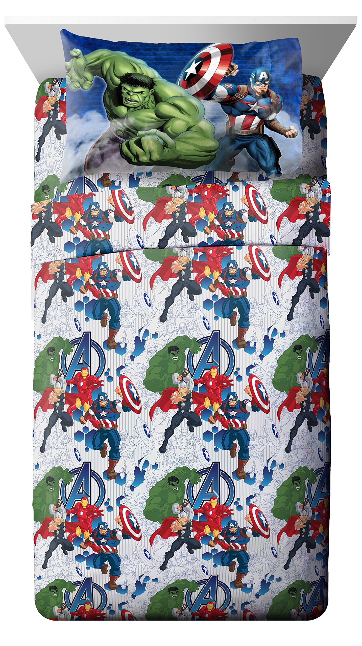 Marvel Avengers Blue Circle Twin Sheet Set- 3 Piece Set Super Soft and Cozy Kid's Bedding Features Captain America, Hulk, Iron Man, and Thor- Fade Resistant Microfiber Sheets (Official Marvel Product) by Jay Franco