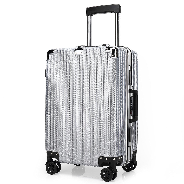 クロース(Kroeus) スーツケース TSAロック搭載 4輪ダブルキャスター 静音 大容量 フレームタイプ 軽量 人気 キャリーケース 旅行 出張 耐衝撃 取扱説明書付 B07CXLLNV6 L|シルバー シルバー L