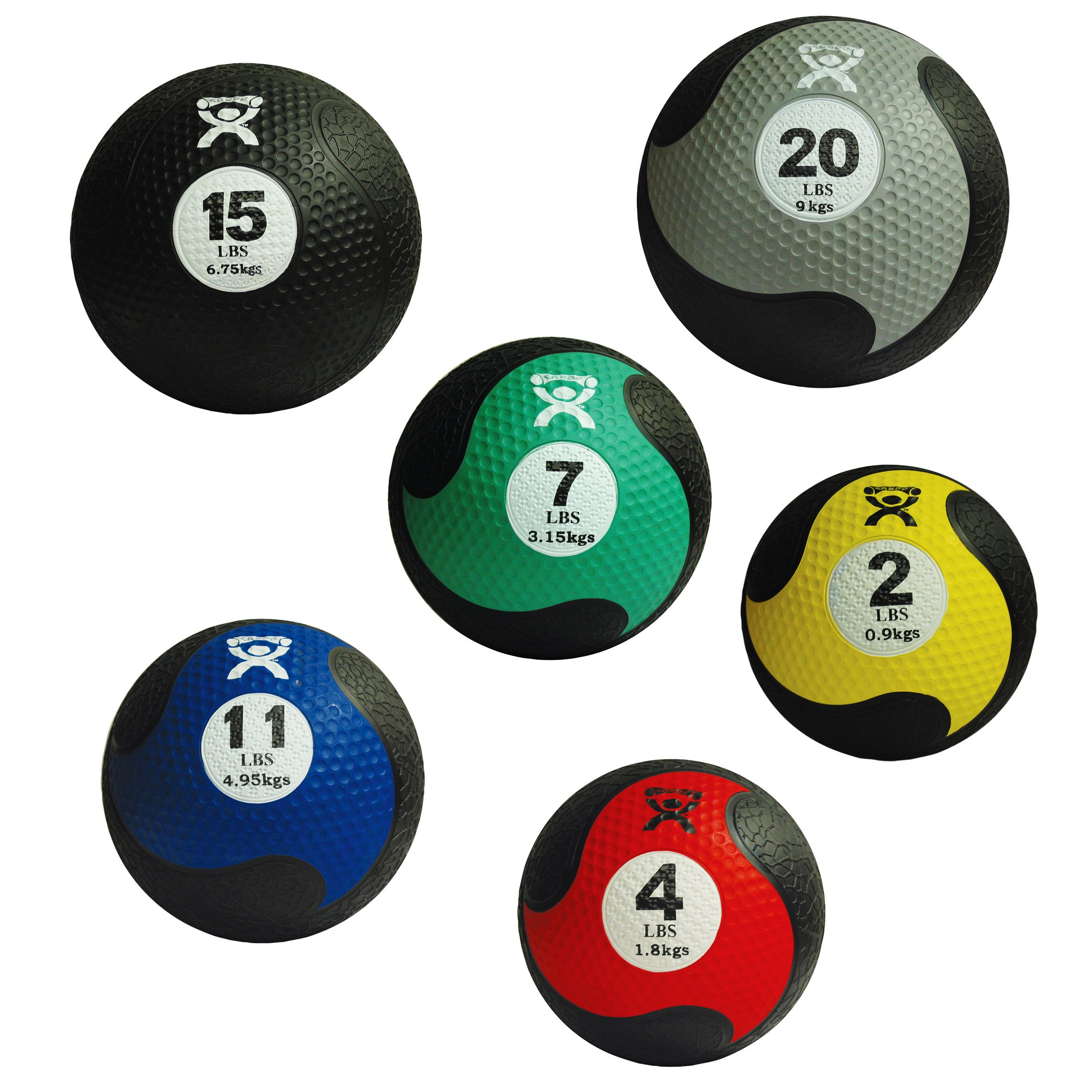 Cando Firm Fitness Medicine Balls - 6-Piece Bundle - 1 Each: 2, 4, 7, 11, 15, 20 LB