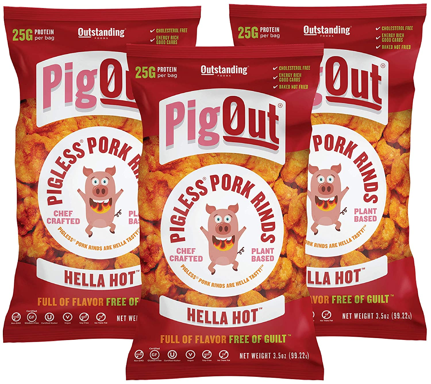PigOut Pigless Pork Rinds, Hella Hot   Plant Based, High Protein, Low Calorie   Gluten Free, Kosher, Non-GMO   3.5oz, 3 Pack