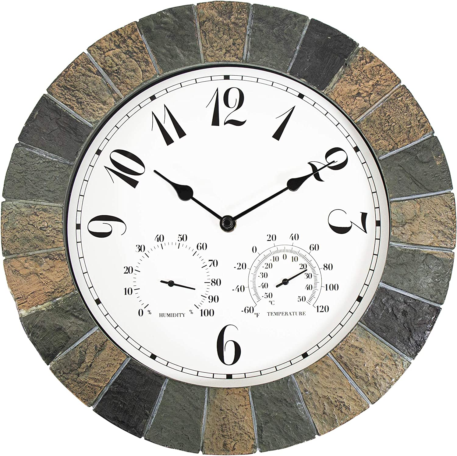 yookare 13 Inch Large Weatherproof Garden Faux Slate Frame Wall Clock Arabic Digits Easy to Ready Non-Ticking Quartz Battery Operated Moving, Muti Color