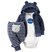Carter's 3 Piece Terry Cardigan Set (Baby) I'm So Happy Navy 3 Months