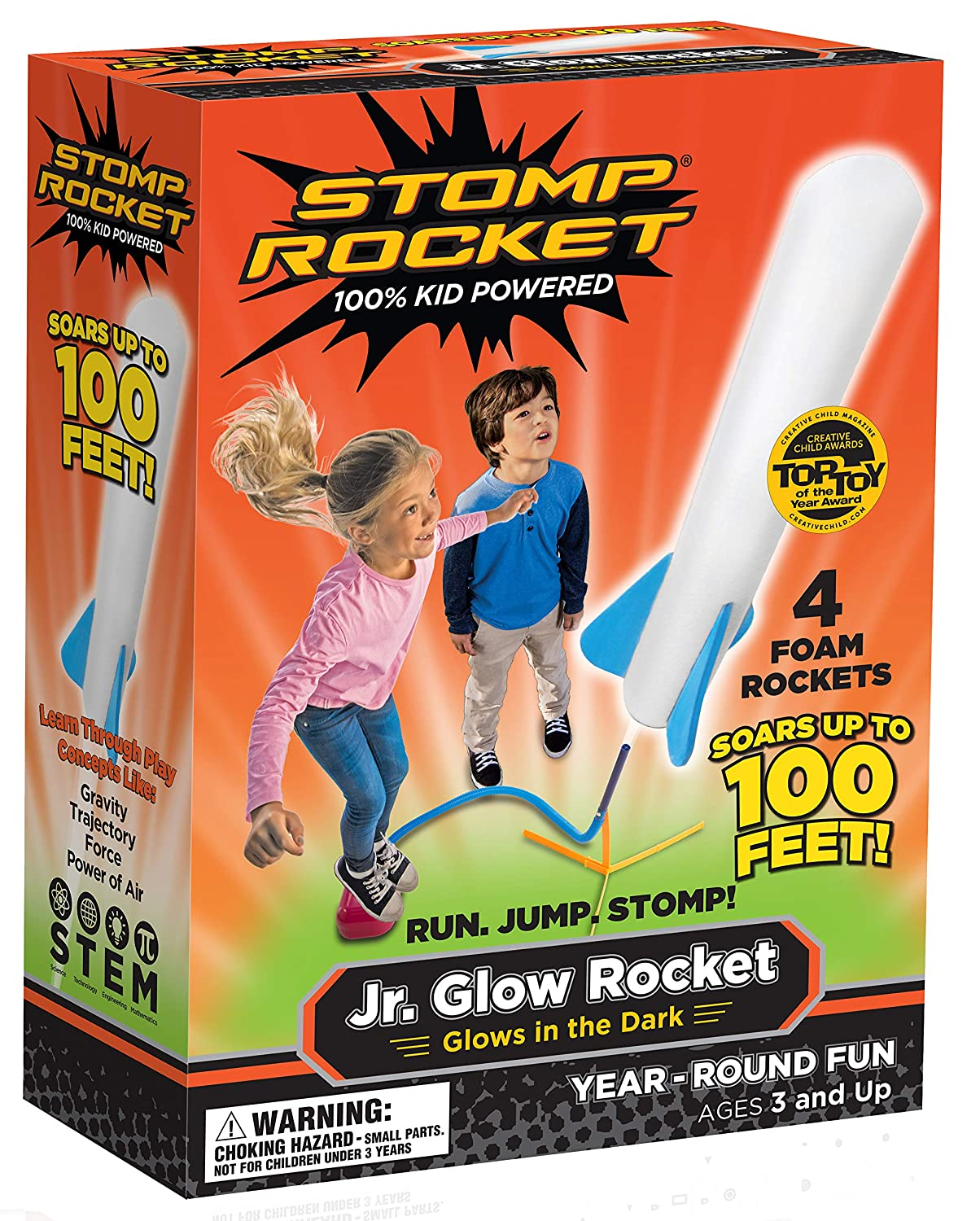 Stomp Rocket The Original Jr. Glow, 4 Rockets