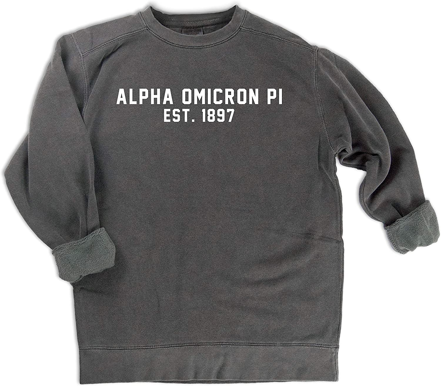 AOii Pigment Dyed or Solid Color Hoooded Sweatshirt Alpha Omicron Pi Hooded Pullover Sweatshirt Alpha Omicron Pi Sweatshirt