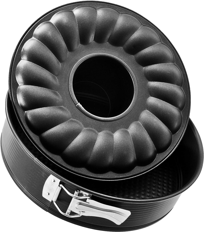 Zenker Molde desmontable 2 fondos BLACK METALLIC en acero con revestimiento antiadherente Teflon. Negro. Ø26x6,5cm. 1 ud.
